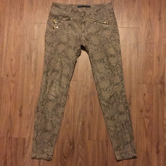 21836a01 Zara Pants | Basic Women Size 4 Snake Gold Zipper | Poshmark